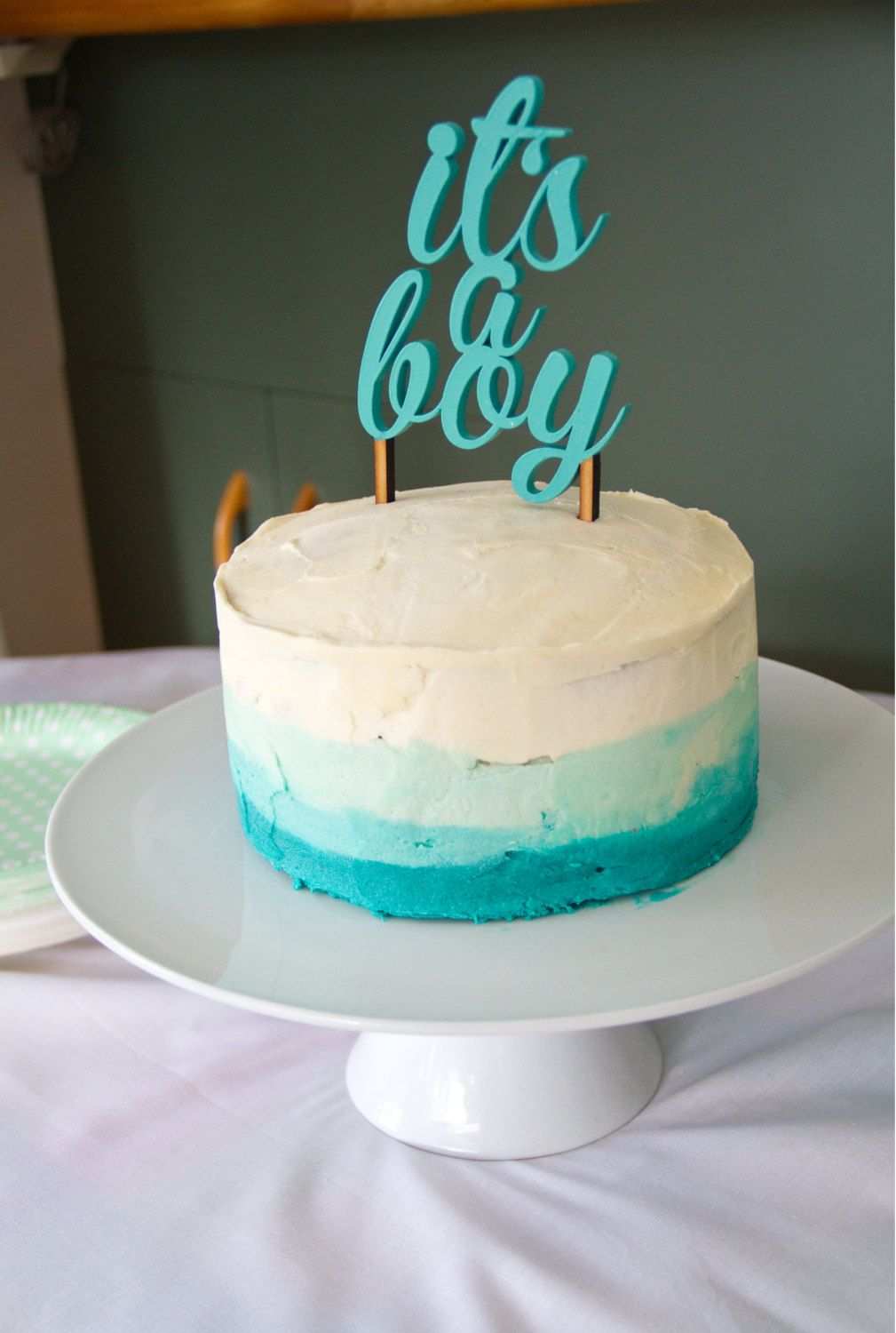 Painted Itu0027s A Boy Baby Shower Cake Topper By PSWeddingsandEvents, $20.00