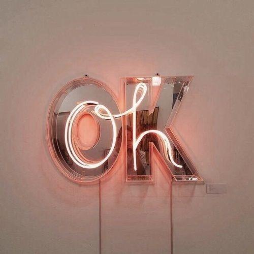Ok Orange Peachy Sign Goals Love Neon Lights Girl Boy Hot Coupes Rose Gold Colorful Decor Aesthetic Alternative