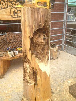 Ron eye wood artist bear chainsaw carving ideas wood carving