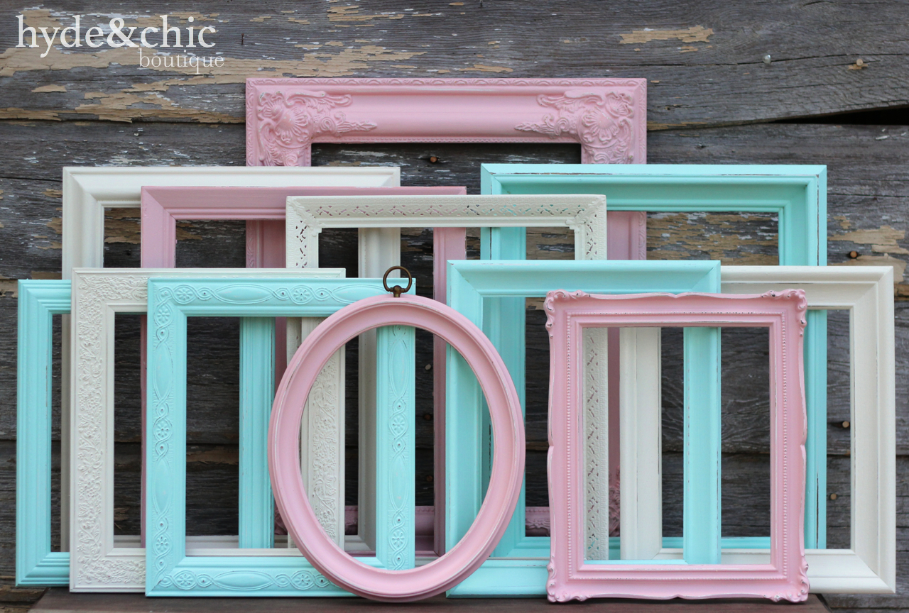 Pink Aqua And Cream Baby Girl Nursery Picture Frame Set