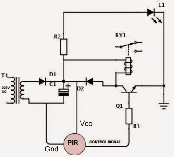 PIR Motion Activated Relay Circuit Electronic Circuit