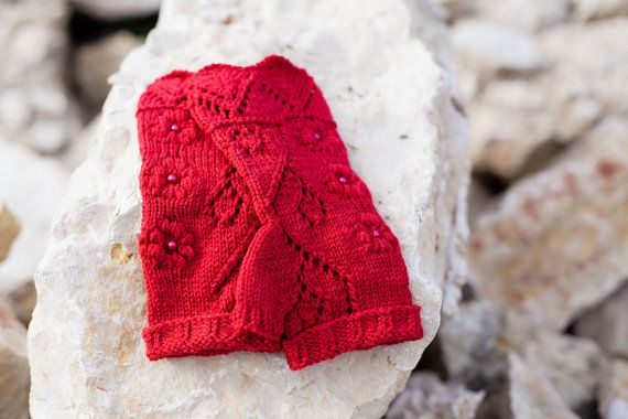 Knit fingerless gloves, lace wool arm warmers / wrist warmers, spring fashion accessories, red
