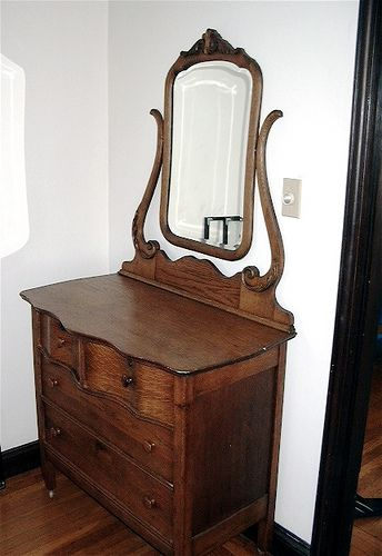 Early 1900s Antique Oak Dresser With Mirror Shabby Chic Dresser