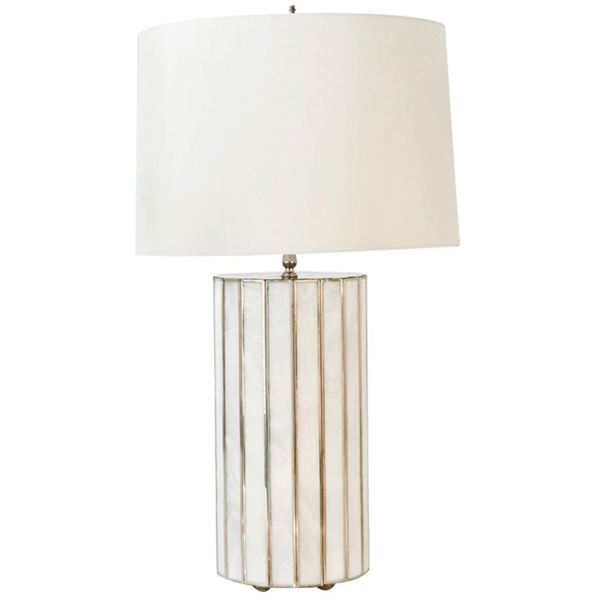 Worlds Away Large Faceted White Glass Lamp GORDO WH