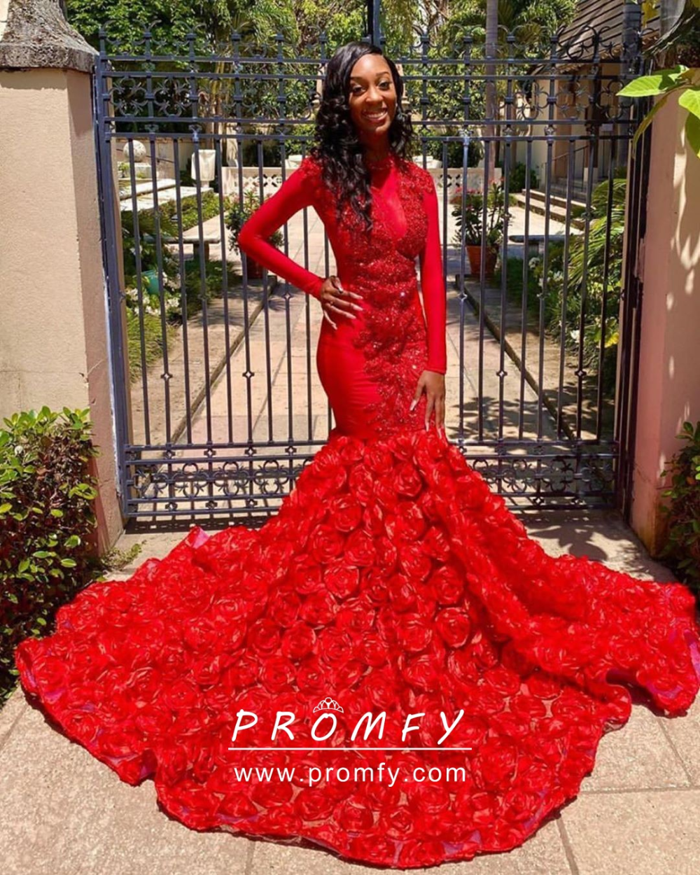 Red 3d Rosettes Mermaid Long Train Prom Dress Prom Dress With Train Prom Dresses Prom Gown [ 1250 x 1000 Pixel ]