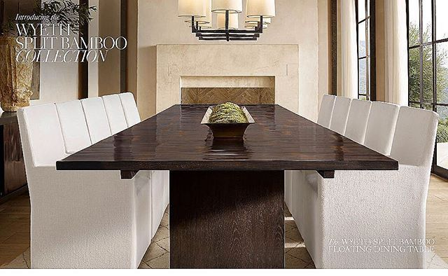 WYETH SPLIT BAMBOO FLOATING RECTANGULAR EXTENSION DINING TABLE .... ......  ...... .... Designed By Modern Visionary John Birch, Our Striking  Collection ...