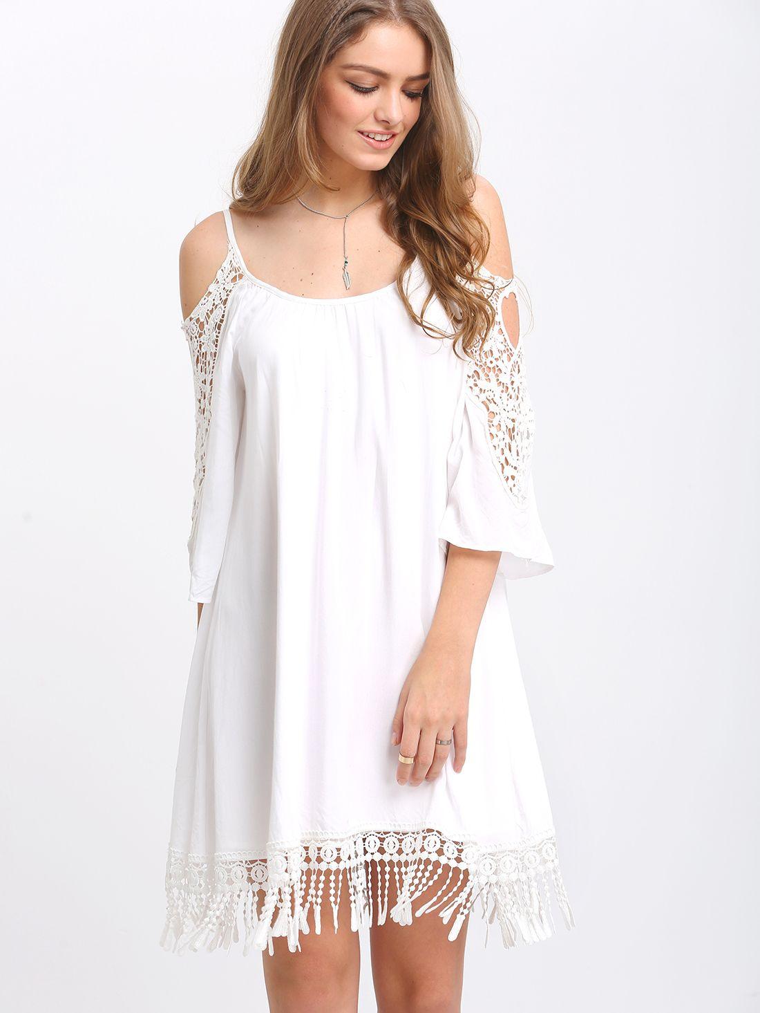 8ecd77f64d Shop Beige Open Shoulder Crochet Lace Sleeve Tassel Dress online. SheIn  offers Beige Open Shoulder Crochet Lace Sleeve Tassel Dress & more to fit  your ...