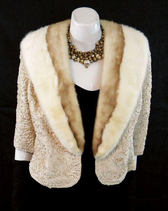 1940s Vintage Fur Trimmed Ribbon Weave Evening by mystiquevintage
