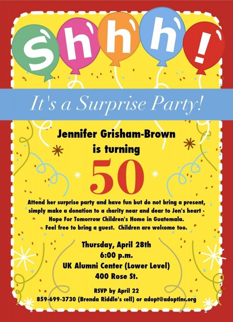 Free FREE 50th Birthday Party Invitations Wording | FREE Printable ...