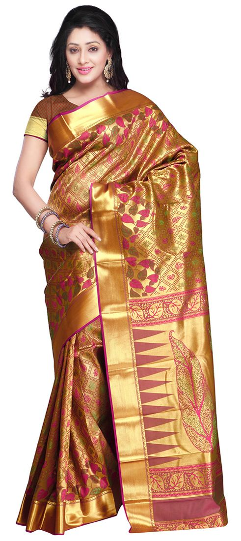 Silk Saree In Red And Maroon With Printed Work Saree Mysore