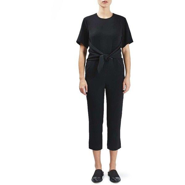 Topshop Boutique Tie Front Jumpsuit ($160) ❤ liked on Polyvore featuring jumpsuits, black, short sleeve jumpsuit, jump suit, topshop, topshop jumpsuit and cropped jumpsuit