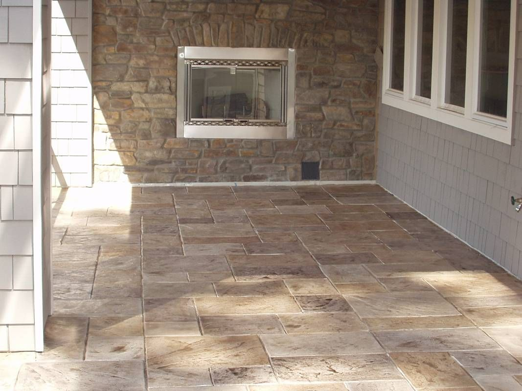 Stamped Concrete is the process of adding texture and color to concrete.  This process makes