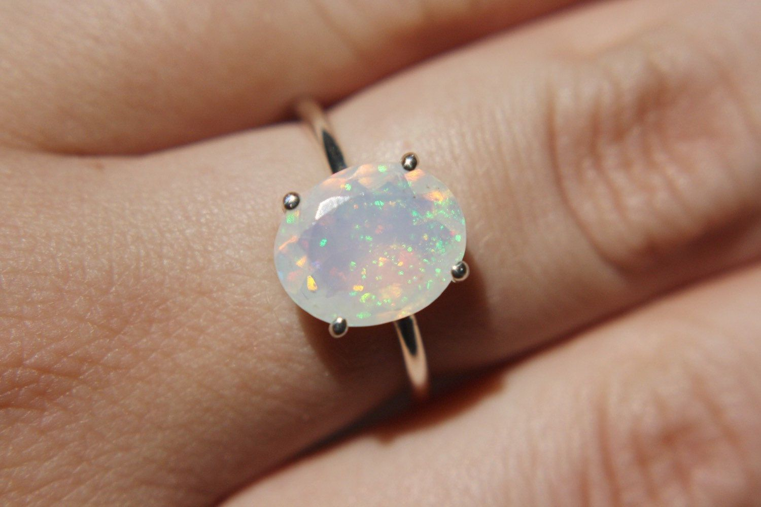 Manmade Opal Sterling Silver Filled Opal Wire Wrapped Ring Silver Opal Ring Blue Opal Ring