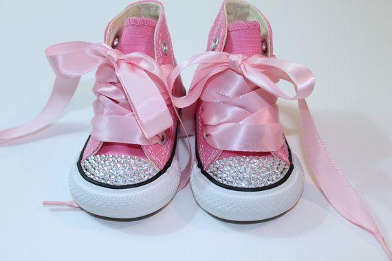 Converse Chucks high tops w Swarovski Crystals Pink & White Size 2-10 infant on Etsy, $79.95