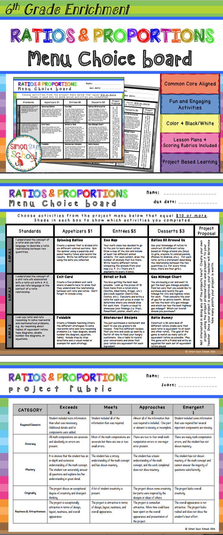 6th Grade Ratios & Proportions Relationships Choice Board ...