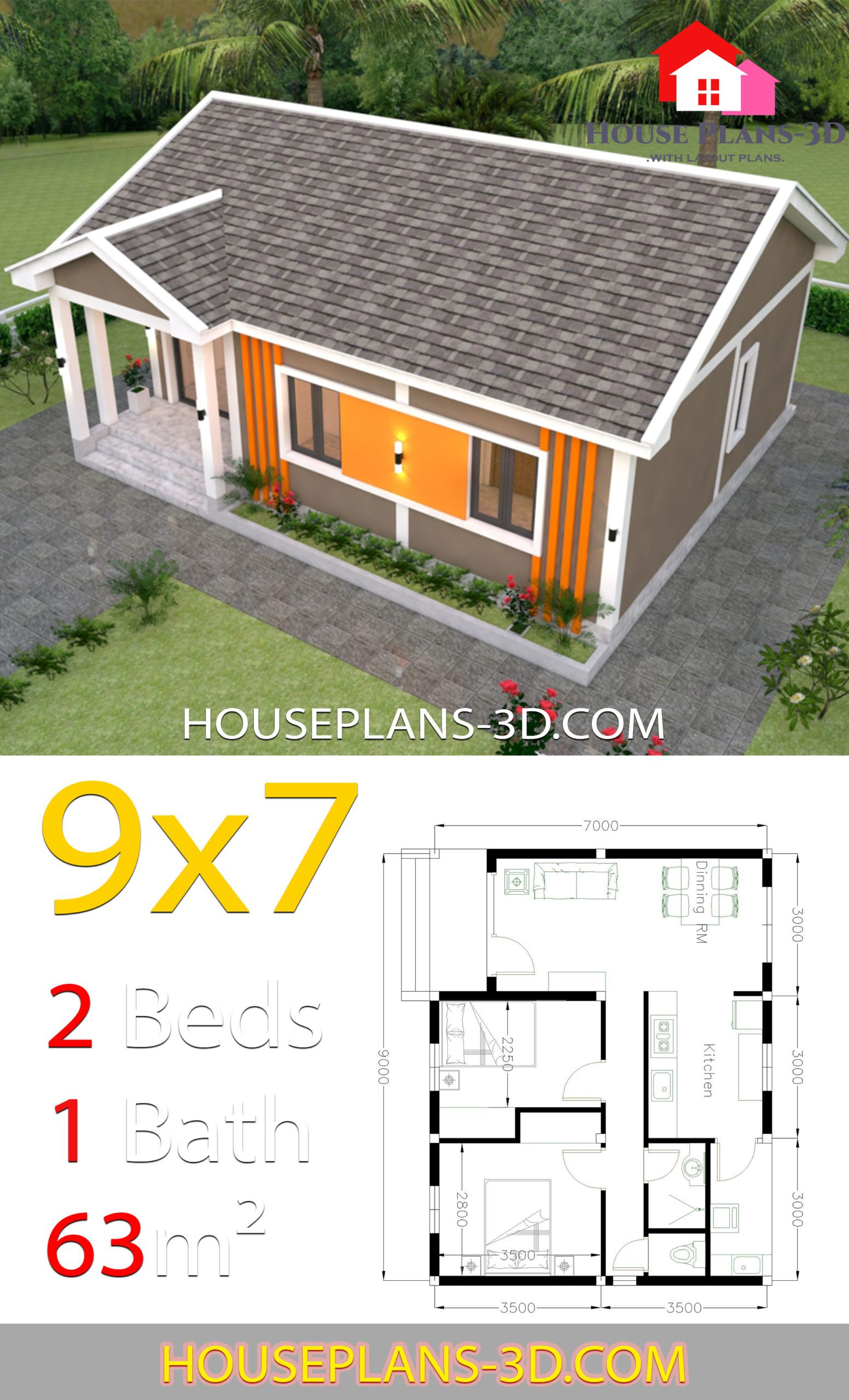 House Plans 9x7 With 2 Bedrooms Gable Roof House Plans 3d Diy House Plans Gable Roof House House Plans