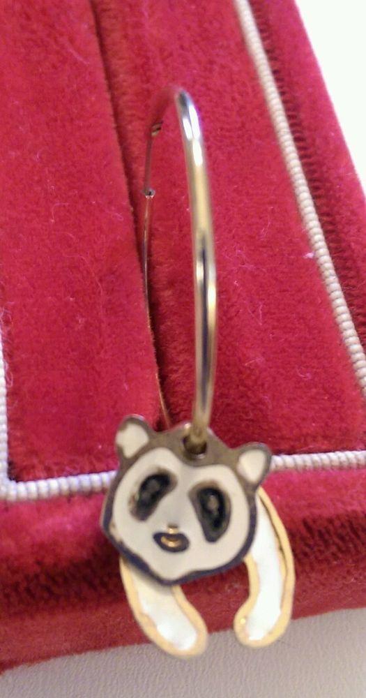 ONE Earring Articulated Panda Bear Hoop Gold Tone in Jewelry & Watches, Fashion Jewelry, Earrings | eBay