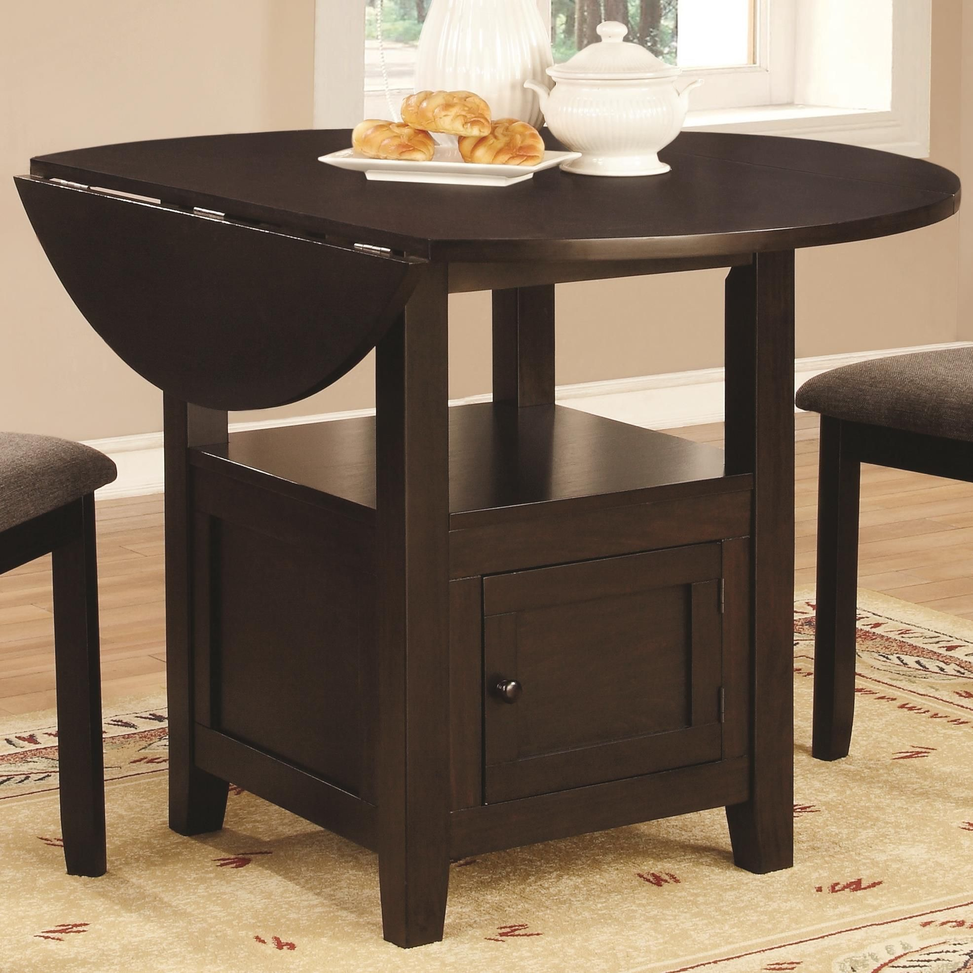 Coaster Stockton Round Drop Leaf Dining Table With Storage Coaster Fine Furnitur Counter Height Dining Table Dining Table With Storage Drop Leaf Dining Table