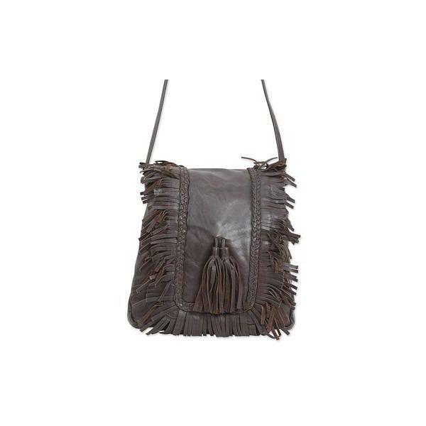 Novica Leather shoulder bag, Green Frills