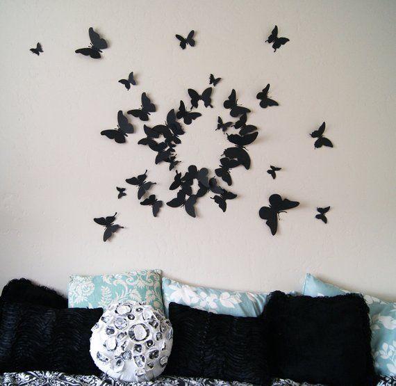 3D Butterfly Wall Art Set Of 80 Paper Butterflies Home Decor Living Room Modern Circle Burst