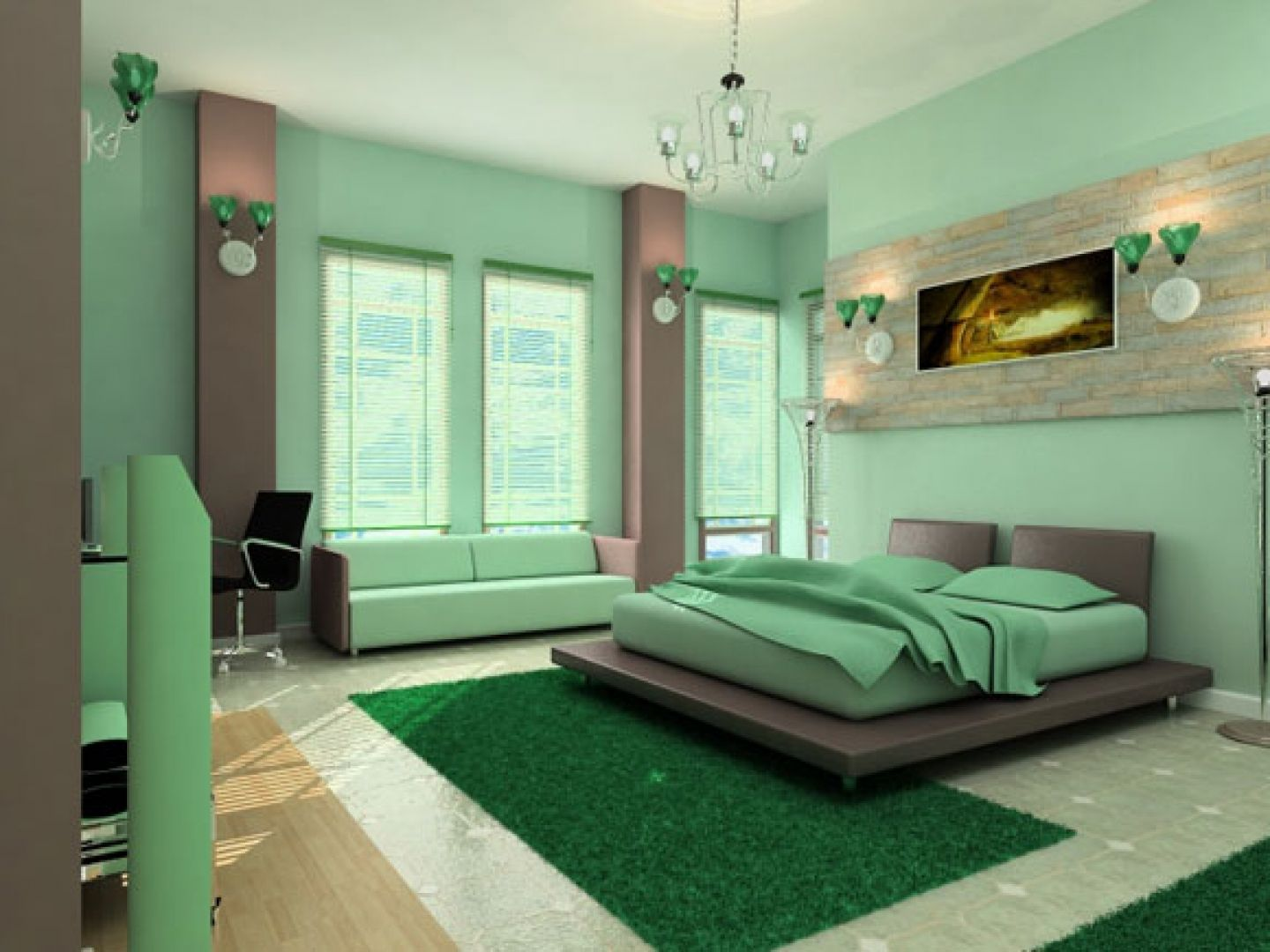The combination of green with others in the interior