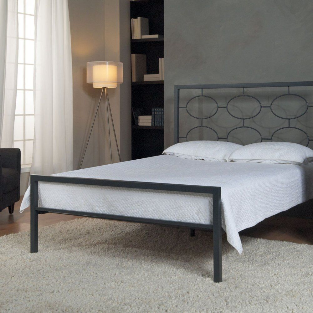 Ca King Metal Platform Bed In Graphite No Box Spring Necessary