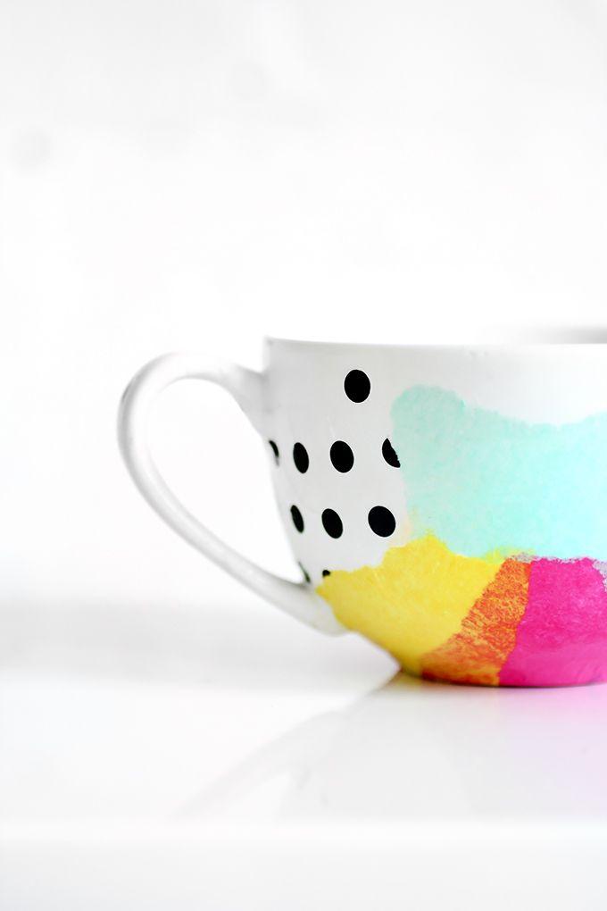 DIY Tissue paper mug   diy.   Pinterest   Decoupage, Cerámica y Taza ...