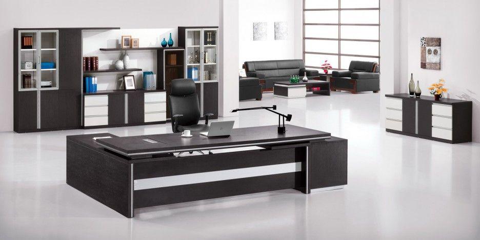 Executive Cool Office Desks Ideas Showcasing Dark Wood Finishing