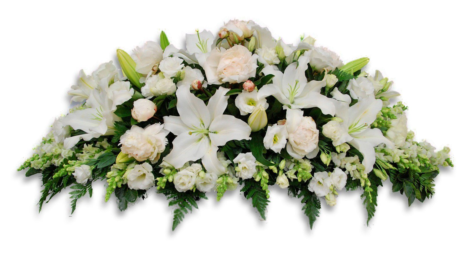 White Casket Including Roses Peonies Lillies Lisianthus And