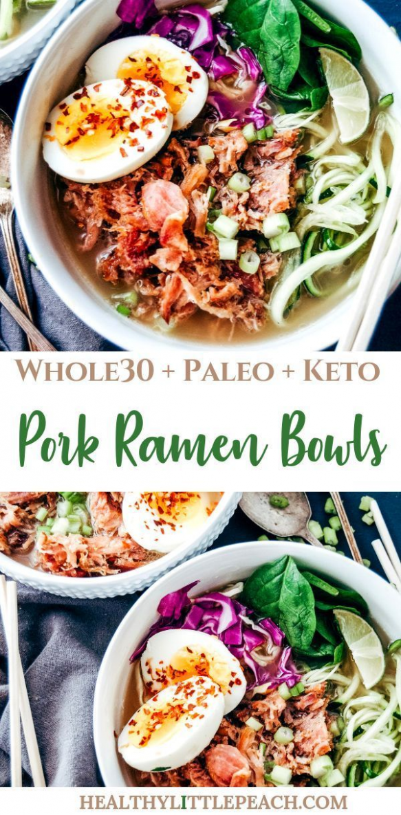This Zoodle Pork Bowl is the perfect warm meal for a busy winter night that is filled with shredded pork spiralized zucchini red cabbage boiled eggs covered in bone broth. This dish is Whole30 Paleo and Keto compliant. #whole30 #keto #paleo #ketorecipes #ramennoodles #paleodinner