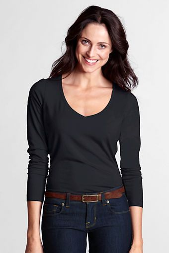 Cheap Online Shop Womens Petite Long Sleeve Cotton/Modal Crew Neck T-shirt - 10 -12 - Green Lands End Discount Websites Best Wholesale Cheap Price Vw9yC