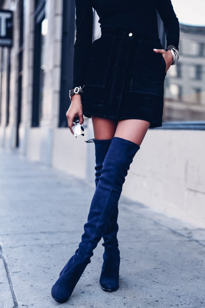 c77d8766874 Love the cobalt over the knee boots mid-thigh boots!
