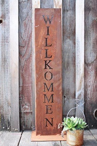 Willkommen Ständer, Rost Schild, Deko für Hauseingang in - gartendeko aus holz und metall
