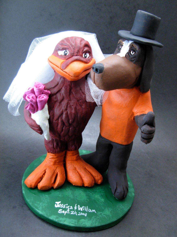 Hokie bird bride with smokey groom wedding cake topper football