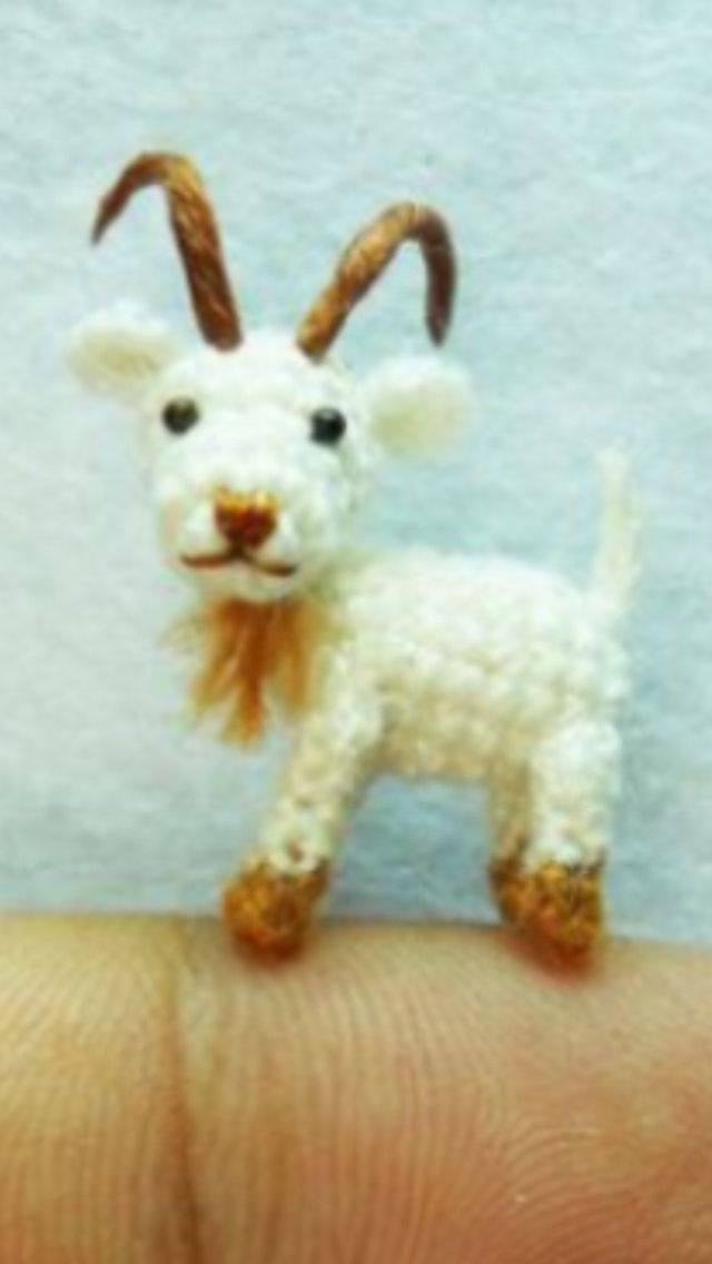 Miniature Crocheted Goat Crochet Pinterest Miniatures Crochet