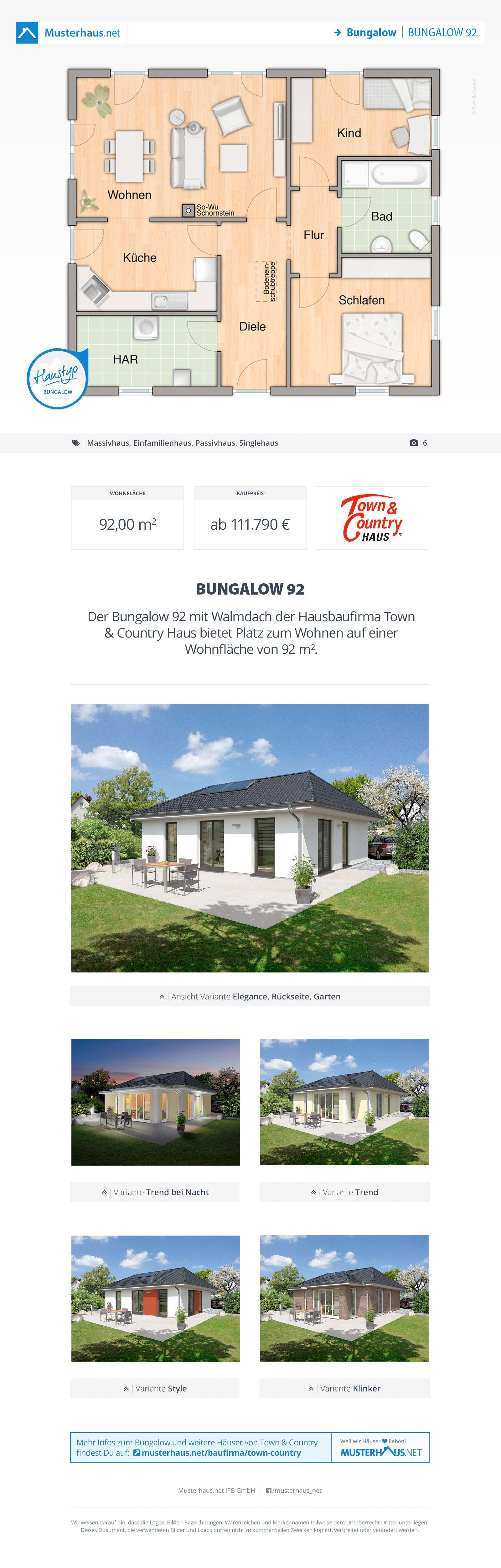 Bungalow Grundriss, Massivhaus, 92 m², offene Küche | planos ...
