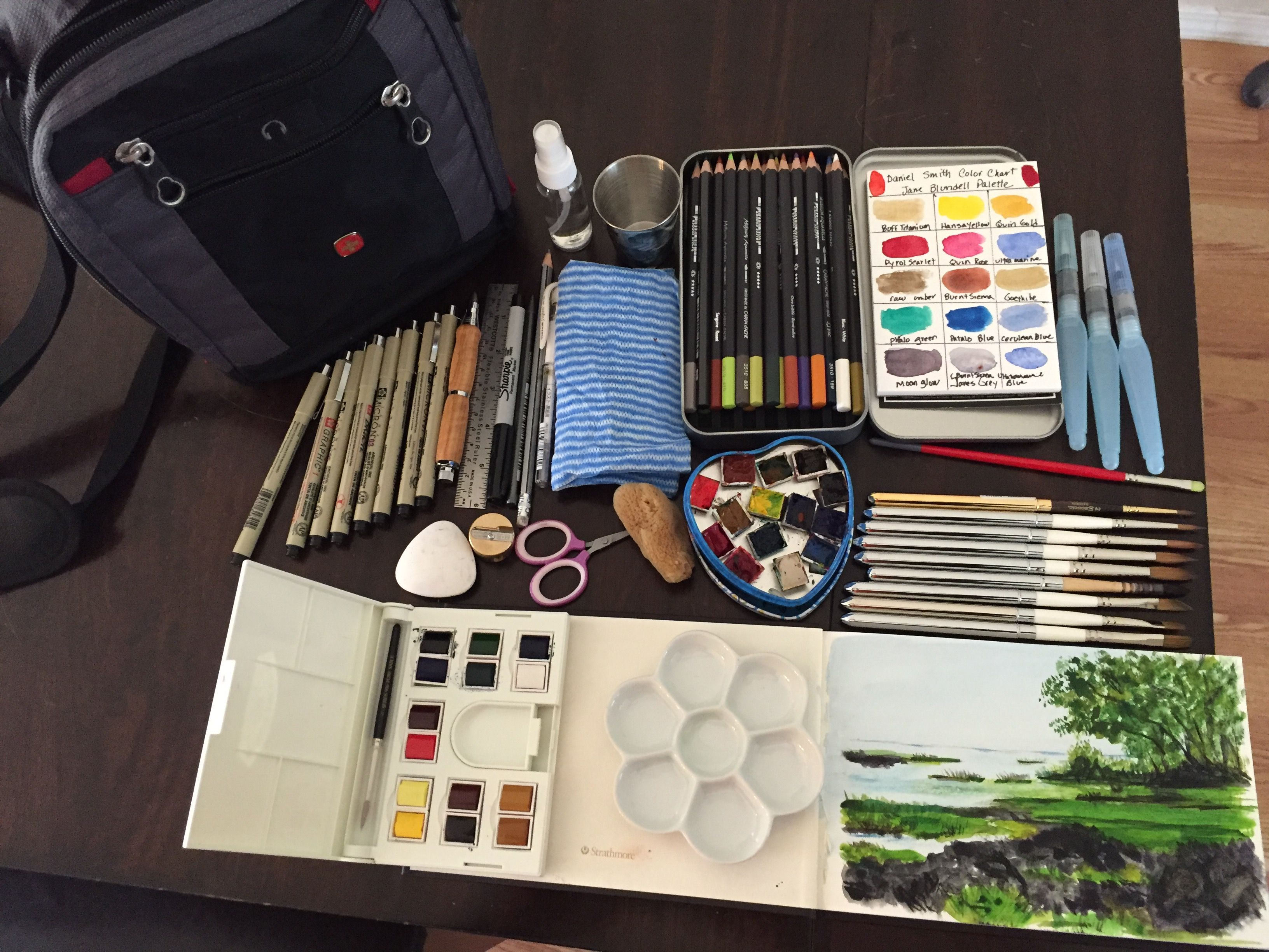 Watercolor Travel Kit Davinci And Rosemary Travel Brushes Daniel