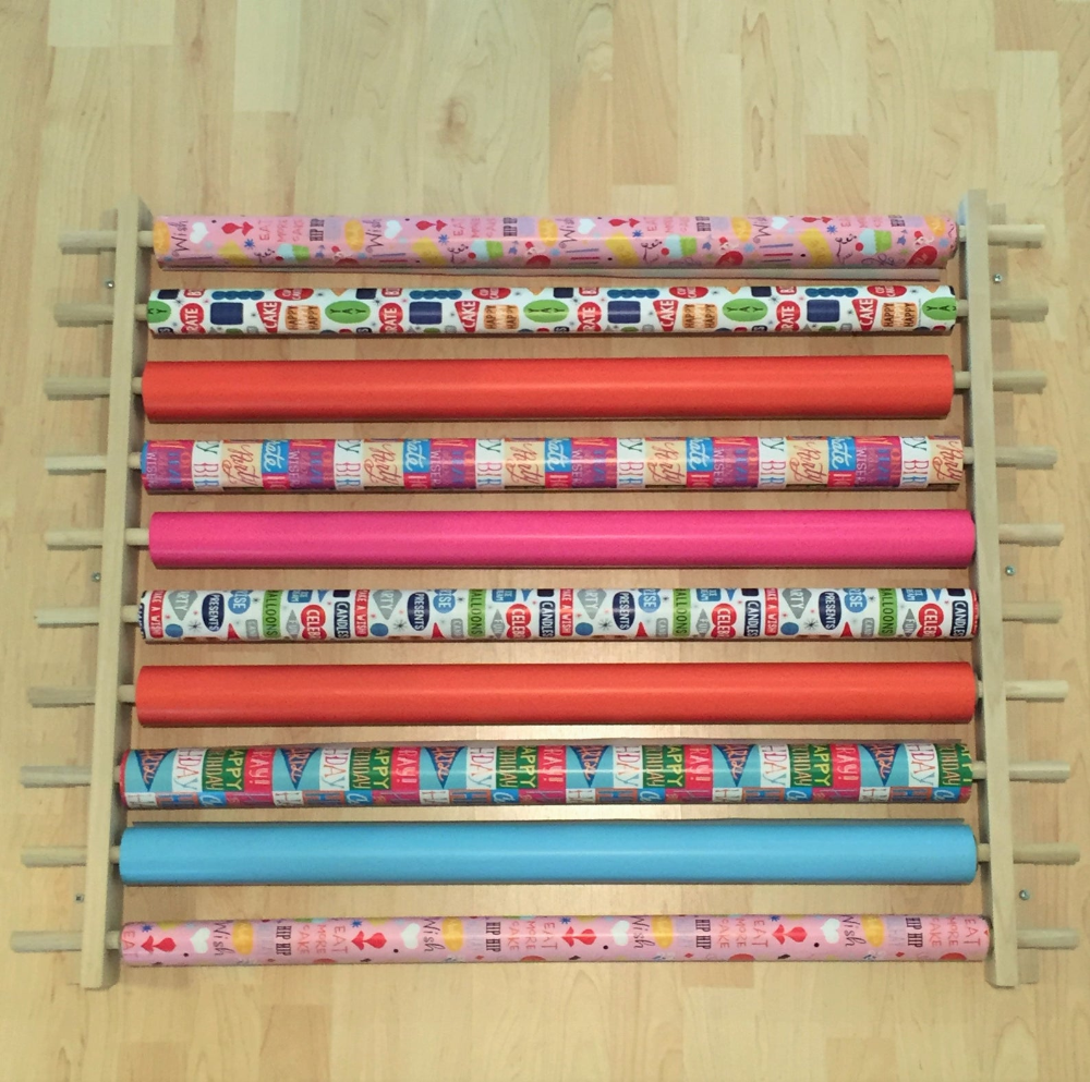 Gift Wrapping Paper Station Organizer Also For Ribbon Cellophane Anything On A Roll Holds 10 Rows Adjustable Width Easy Wall Mount Wrapping Paper Station Gift Wrapping Station Wrapping Station