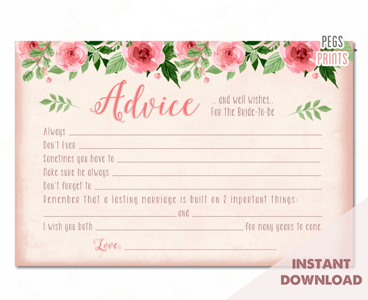 Bridal Advice Cards Instant Download Advice For The Bridal Shower Advice Cards Bridal Advice Cards Bridal Shower Advice