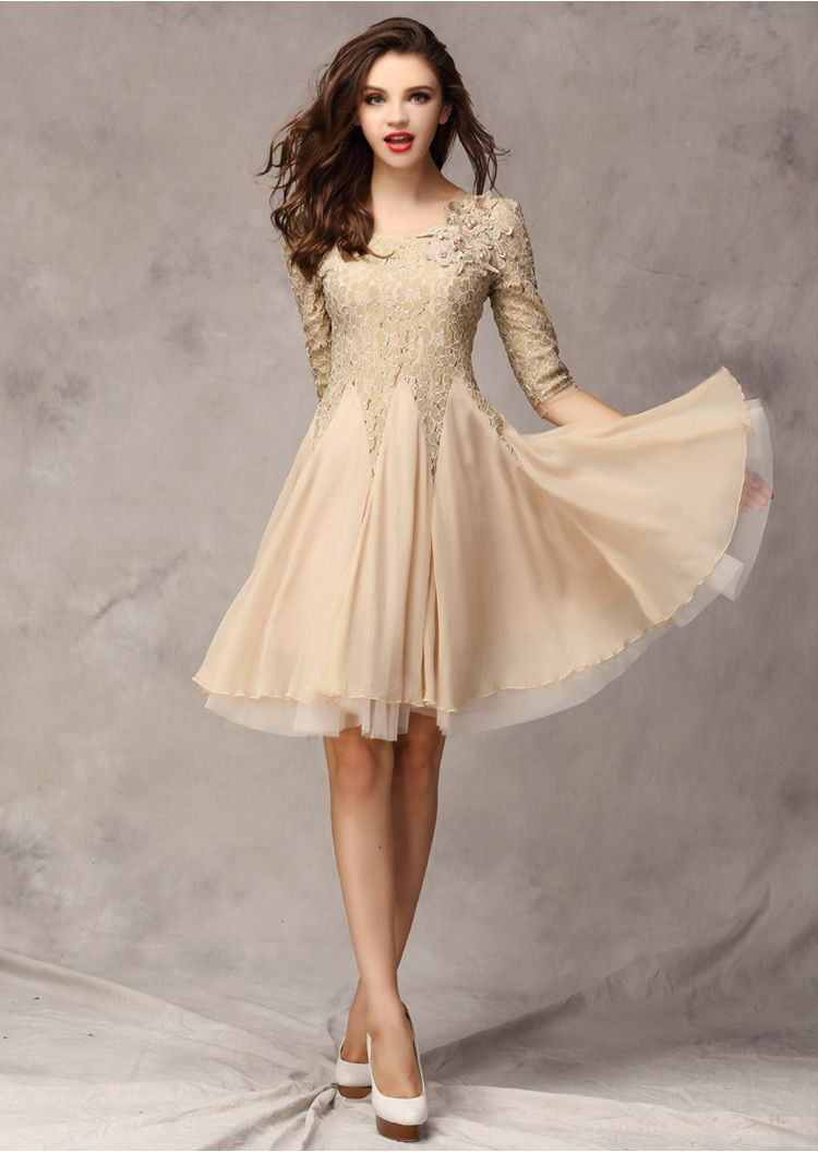 Summer oneck half sleeve lace chiffon casual dress style