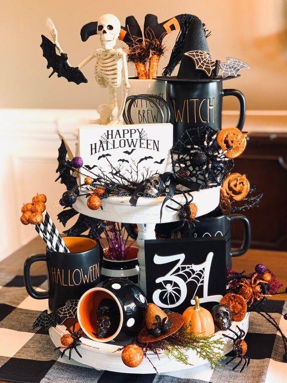 Halloween decor, 3d sign, Halloween spider decor, October 31st decor, fall tiered tray sign, Halloween 3d sign