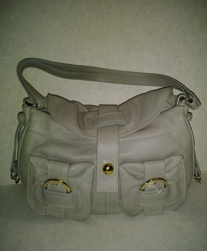 Barr Grey Leather Satchel Handbag