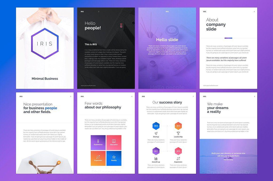 A4 Iris Powerpoint Template Keynote Template Powerpoint Templates Templates