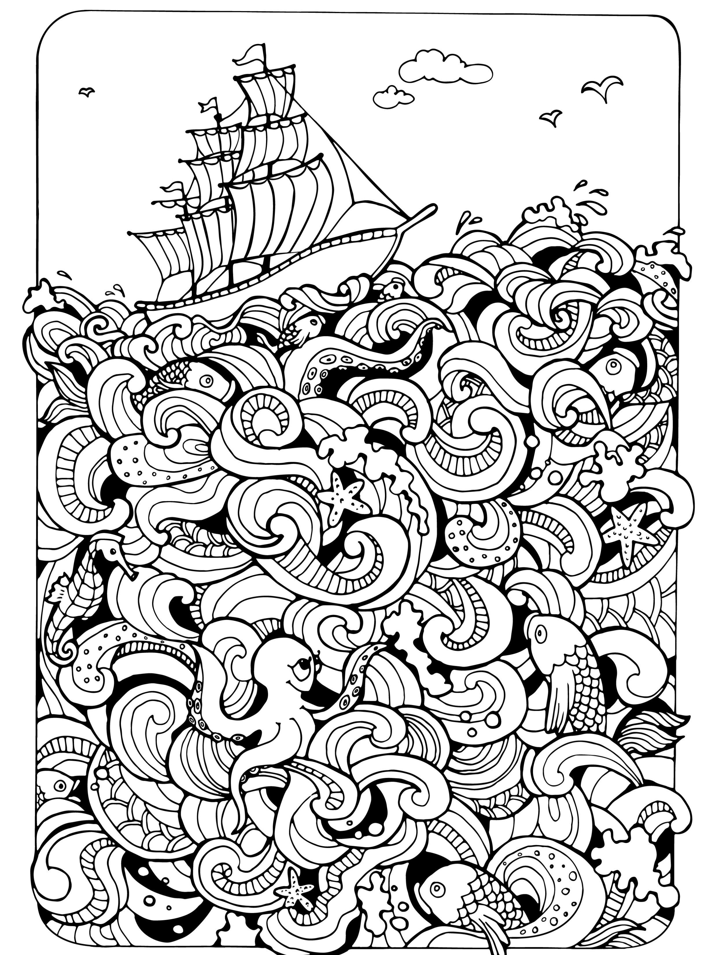 Boat on the Sea : Absurdly Whimsical Adult Coloring Page ...