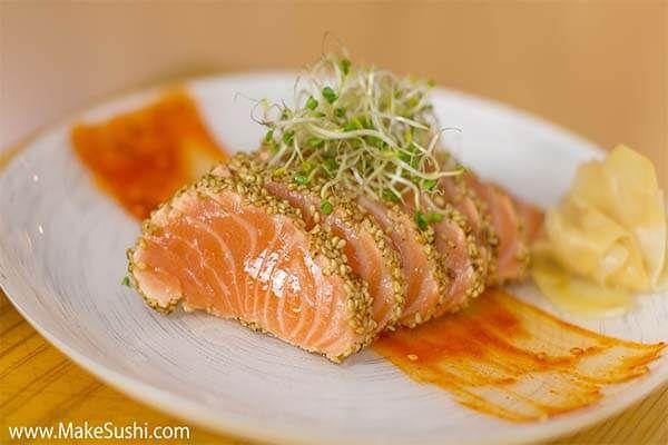 Seared Salmon Sashimi With A Sesame Seed Crust Recipe Salmon Sashimi Seared Salmon Sashimi Recipe