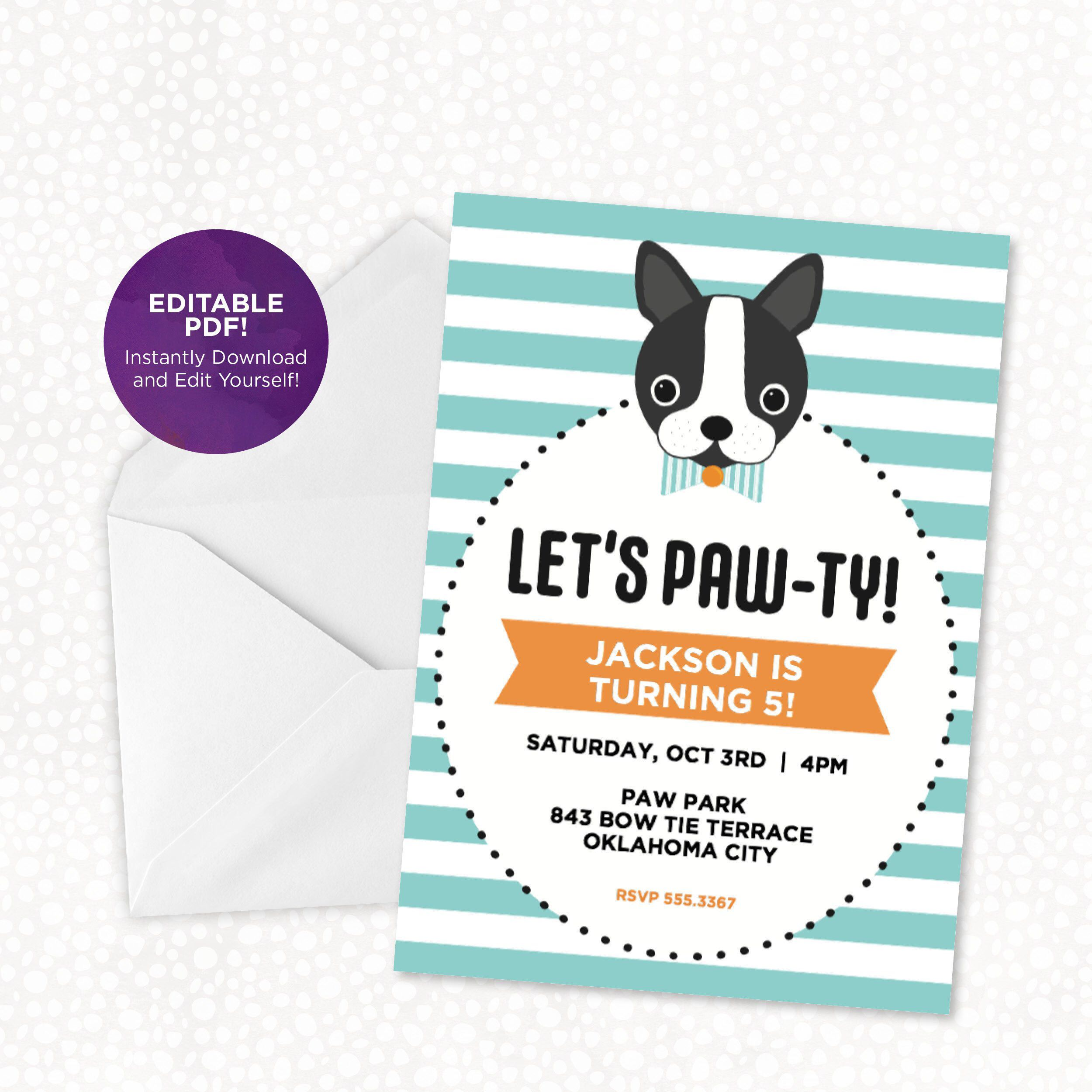 Dog Birthday Invitation Lets Paw Ty Editable
