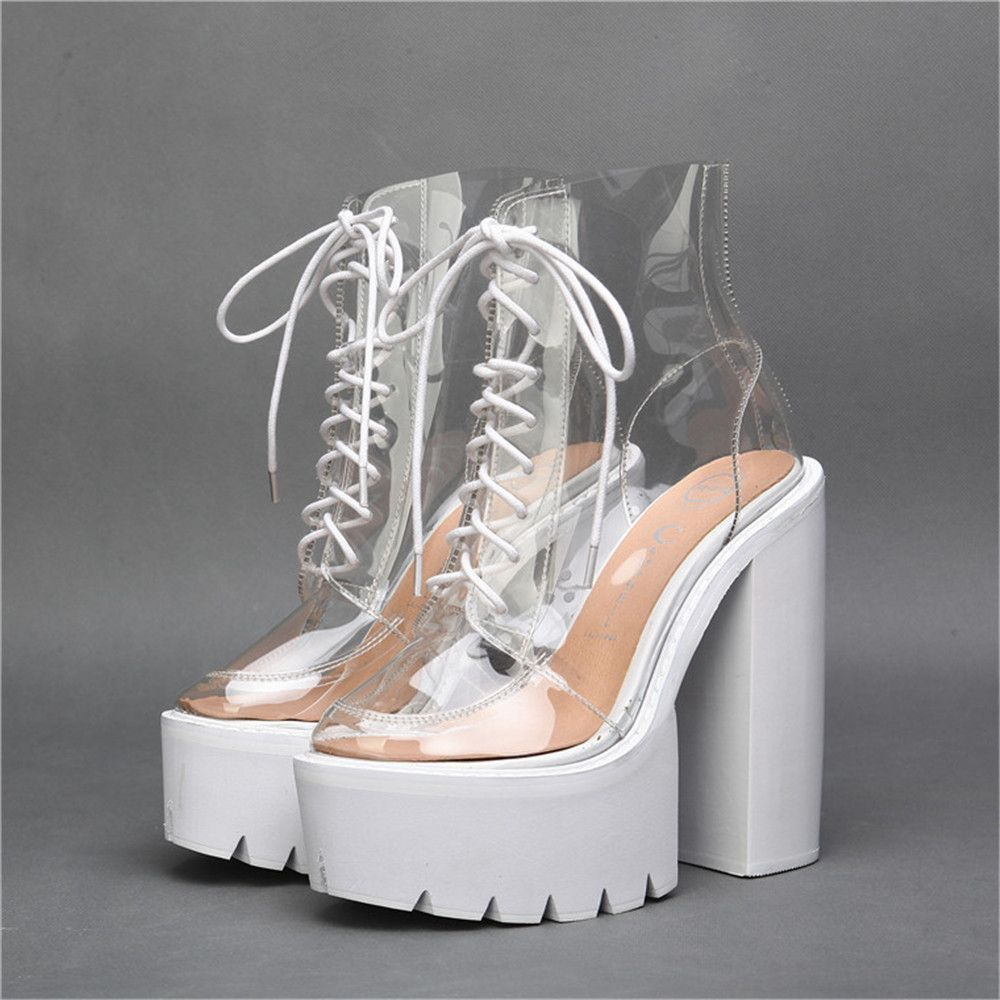 $109.09 (Buy here: http://appdeal.ru/fd01 ) Autumn New Fashion Transparent PVC Crossed Lace-up Ankle Boots Heavy-bottomed Platform Thick Heels Women Martin Single Booties for just $109.09