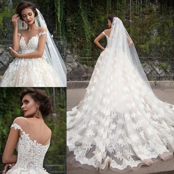 2019 Dubai Arabic Wedding Dresses Lace Appliques Off: 2020 的 Wedding Dresses 2019 Ball Gown Off Shoulder Full
