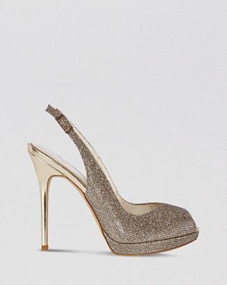 KAREN MILLEN Peep Toe Platform Evening Slingback Sandals - Glitter High Heel   Bloomingdale's