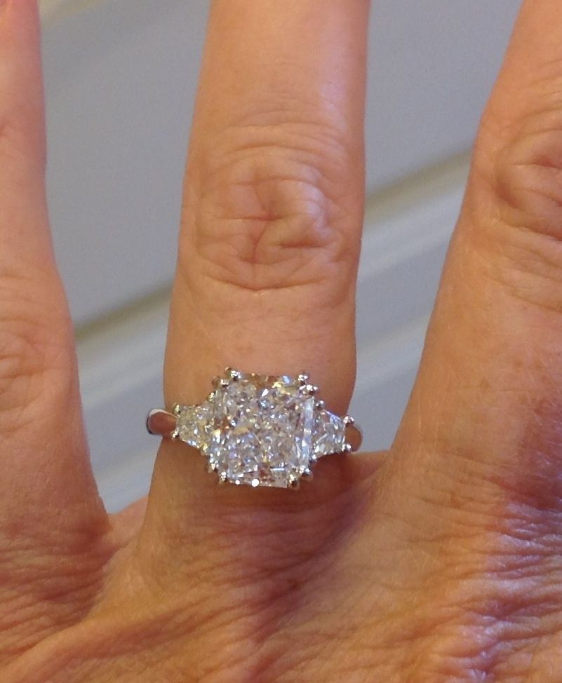 cushion cut with trapezoid side stones